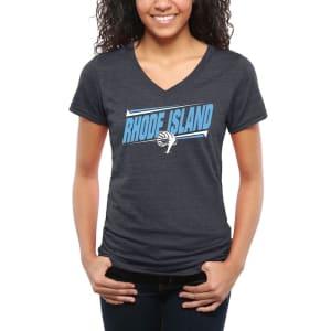 Rhode Island Rams Women's Double Bar Tri-Blend V-Neck T-Shirt - Navy