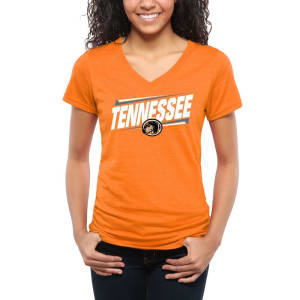 Tennessee Volunteers Women's Double Bar Tri-Blend V-Neck T-Shirt - Tennessee Orange