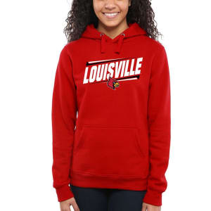 Louisville Cardinals Women's Double Bar Pullover Hoodie - Red