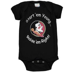 Florida State Seminoles Newborn & Infant Start 'Em Young Bodysuit - Black