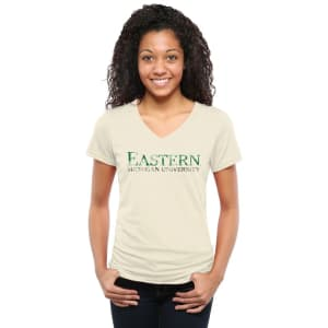 Eastern Michigan Eagles Women's Classic Wordmark Tri-Blend V-Neck T-Shirt - White