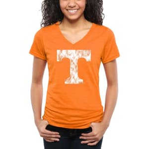 Tennessee Volunteers Women's Classic Primary Tri-Blend V-Neck T-Shirt - Tennessee Orange