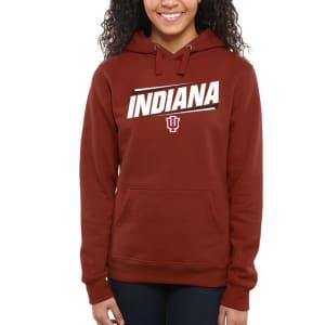 Indiana Hoosiers Women's Double Bar Pullover Hoodie - Crimson