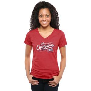 Montreal Canadiens Women's Vindicator Tri-Blend V-Neck T-Shirt - Red