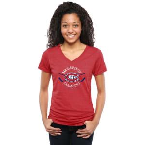 Montreal Canadiens Women's Champ Sticks Tri-Blend V-Neck T-Shirt - Red