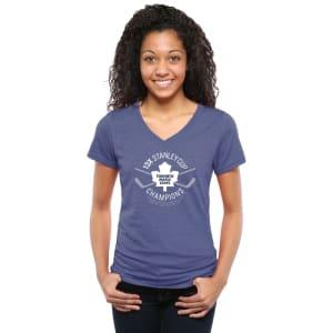 Toronto Maple Leafs Women's Champ Sticks Tri-Blend V-Neck T-Shirt - Blue