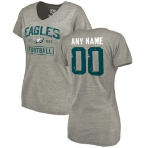 Philadelphia Eagles NFL Pro Line by Fanatics Branded Women's Distressed Personalized Tri-Blend V-Neck T-Shirt - Heather Gray