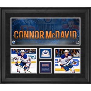 Connor McDavid Edmonton Oilers Fanatics Authentic Framed 20'' x 24'' 3-Photograph Collage with Game-Used Ice From NHL Debut
