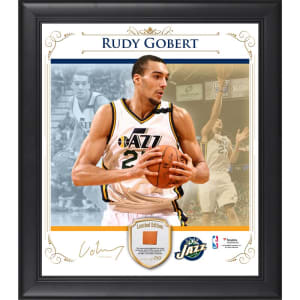 Rudy Gobert Utah Jazz Fanatics Authentic Framed 15'' x 17'' Photo Collage with Team Used Basketball- Limited Edition of 250