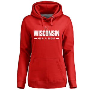 Wisconsin Badgers Women's Custom Sport Pullover Hoodie - Red