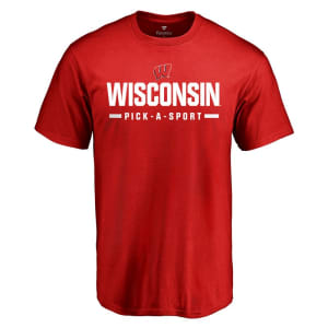 Wisconsin Badgers Custom Sport Wordmark T-Shirt - Red