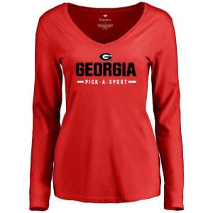 Georgia Bulldogs Women's Custom Sport Wordmark Long Sleeve T-Shirt - Red