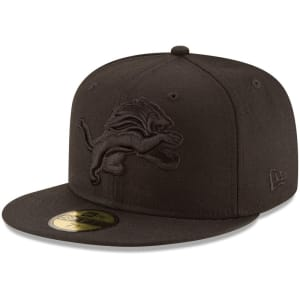 Detroit Lions New Era Black on Black 59FIFTY Fitted Hat