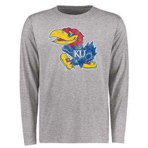 Kansas Jayhawks Big & Tall Classic Primary Long Sleeve T-Shirt - Ash