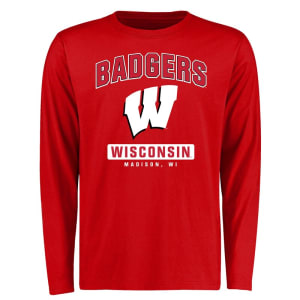 Wisconsin Badgers Campus Icon Long Sleeve T-Shirt - Red