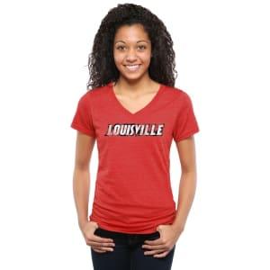 Louisville Cardinals Women's Classic Wordmark Tri-Blend V-Neck T-Shirt - Red