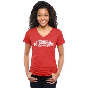 Wisconsin Badgers Women's Classic Wordmark Tri-Blend V-Neck T-Shirt - Red