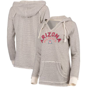Arizona Wildcats Blue 84 Women's Striped French Terry V-Neck Pullover Hoodie - Cream