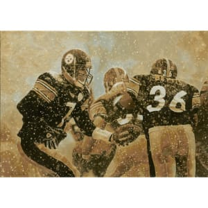 """Pittsburgh Steelers Deacon Jones Foundation 24"""" x 34"""" The Art of the Hand Off Giclee on Canvas"""