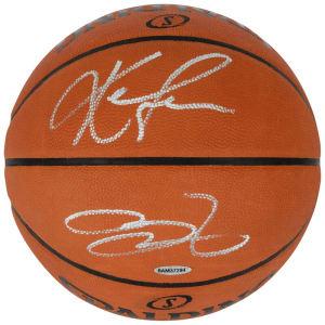 LeBron James & Kevin Love Cleveland Cavaliers Autographed Official Spalding Basketball - Upper Deck