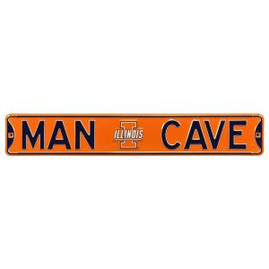 "Illinois Fighting Illini 6"" x 36"" Man Cave Steel Street Sign - Orange"