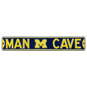 "Michigan Wolverines 6"" x 36"" Man Cave Steel Street Sign - Navy"