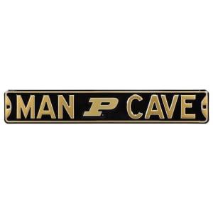 """Purdue Boilermakers 6"""" x 36"""" Man Cave Steel Street Sign - Black"""