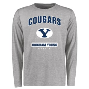 BYU Cougars Big & Tall Campus Icon Long Sleeve T-Shirt - Ash