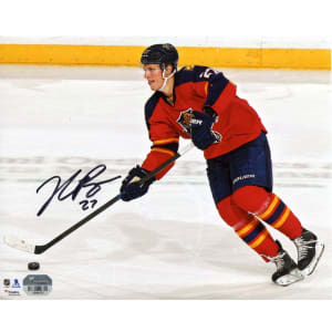 """Nick Bjugstad Florida Panthers Fanatics Authentic Autographed 8"""" x 10"""" Red Jersey Skating With Puck Photograph"""