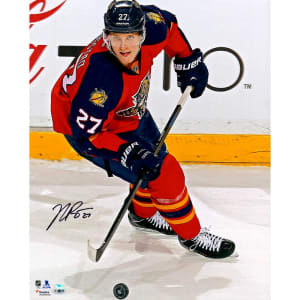 """Nick Bjugstad Florida Panthers Fanatics Authentic Autographed 16"""" x 20"""" Red Jersey Vertical With Puck Photograph"""