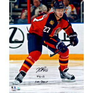 """Nick Bjugstad Florida Panthers Fanatics Authentic Autographed 16"""" x 20"""" Photograph with NHL Debut 4/6/13 Inscription"""