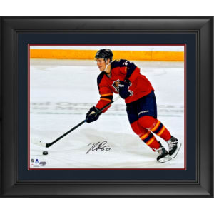 """Nick Bjugstad Florida Panthers Fanatics Authentic Framed Autographed 16"""" x 20"""" Red Jersey Skating With Puck Photograph"""