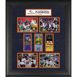 "Denver Broncos Fanatics Authentic Framed 20"" x 24"" Super Bowl 50 Champions 3-Time Super Bowl Champs Replica Ticket and Photo Collage"