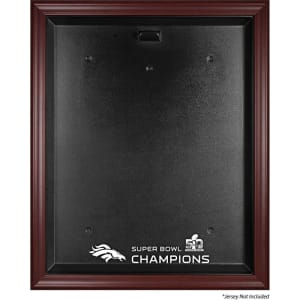 Denver Broncos Fanatics Authentic Mahogany Framed Jersey Super Bowl 50 Champions Logo Display Case