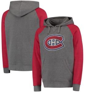 Montreal Canadiens Distressed Primary Logo Raglan Tri-Blend Pullover Hoodie - Gray/Red