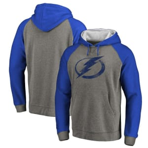 Tampa Bay Lightning Fanatics Branded Distressed Primary Logo Raglan Tri-Blend Pullover Hoodie - Gray/Blue