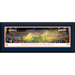 """Denver Broncos 18"""" x 44"""" Super Bowl 50 Champions Deluxe Framed Panoramic"""