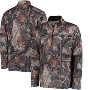 Carolina Panthers Majestic The Woods Half Zip Jacket - Camo