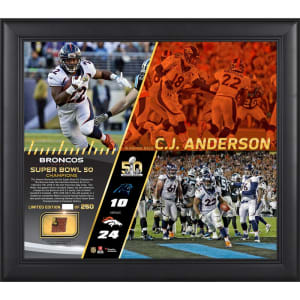 "C.J. Anderson Denver Broncos Fanatics Authentic Framed 15"" x 17"" Super Bowl 50 Champions Collage with a Piece of Game-Used Football - Limited Edition of 250"