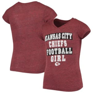 Kansas City Chiefs 5th & Ocean by New Era Girls Youth Football Girl Tri-Blend V-Neck T-Shirt - Red