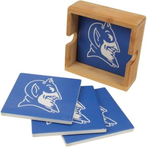 Duke Blue Devils 4-Pack Square Coaster Set with Caddy