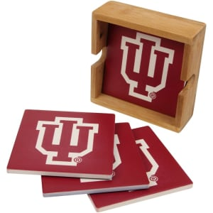 Indiana Hoosiers 4-Pack Square Coaster Set with Caddy