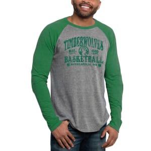Minnesota Timberwolves St. Patrick's Day Blarney Raglan Tri-Blend Long Sleeve T-Shirt - Ash/Green