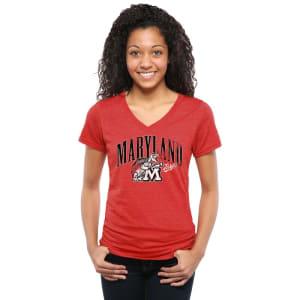 Maryland Terrapins Women's Testudo Tri-Blend V-Neck T-Shirt - Red
