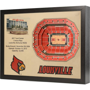 """Louisville Cardinals 25.5"""" x 19.5"""" KFC Yum Center Stadium Views Wall Art"""