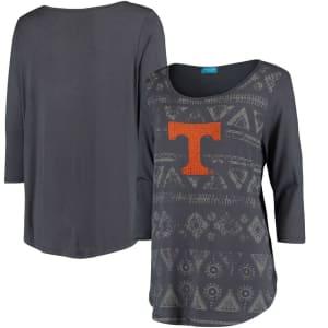 Tennessee Volunteers Women's Aztec Print 3/4-Sleeve Tunic T-Shirt - Charcoal
