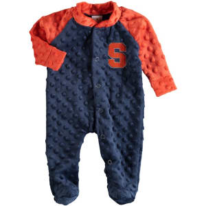 Syracuse Orange Newborn & Infant Cuddle Bubble Raglan Footed Sleeper - Navy/Orange