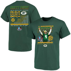Brett Favre Green Bay Packers Majestic Hall of Fame Achievement Name & Number T-Shirt - Green