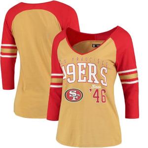 San Francisco 49ers 5th & Ocean by New Era Women's Blind Side 3/4-Sleeve Raglan V-Neck T-Shirt - Gold/Scarlet