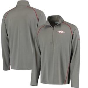 Arkansas Razorbacks Columbia Collegiate Tuk Mountain Half-Zip Long Sleeve T-Shirt - Gray